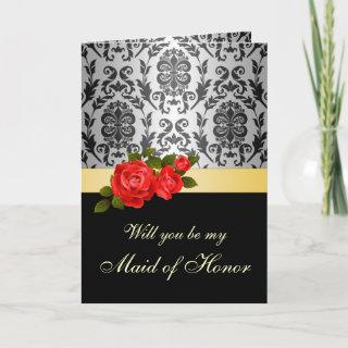Damask black gray, red roses Maid of Honor Request Invitation