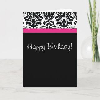Damask black white and hot pink card