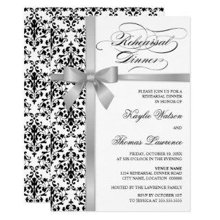Damask Faux Silver Ribbon Rehearsal Dinner Invitations