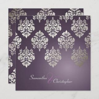 Damask/plum/faux silver wedding invitations