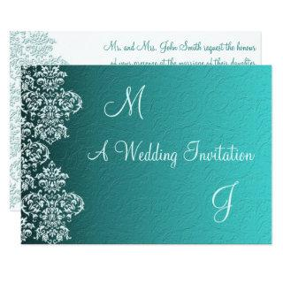 Damask Turquoise Wedding Invitation