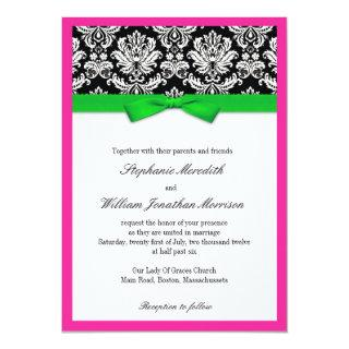 Damask With Green and Pink Wedding Invitation