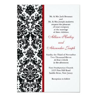 Damask with red accent Wedding Invitations