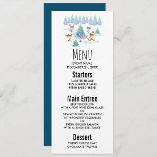 Dancing Forest Animals Christmas Watercolor Invitation