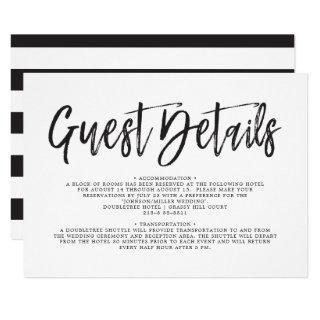 Dancing Script Black | White | Guest Details Invitations