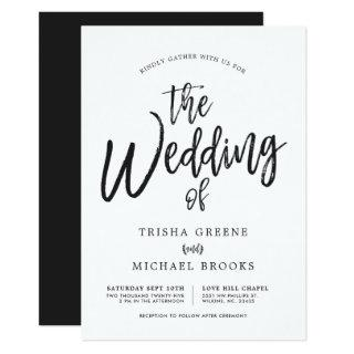 Dancing Script Minimalist Wedding Invitations