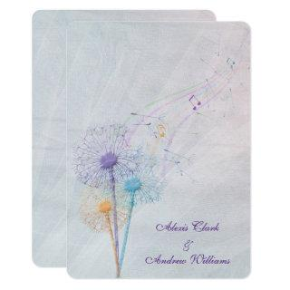 dandelion and musical notes on wedding tulle invitation