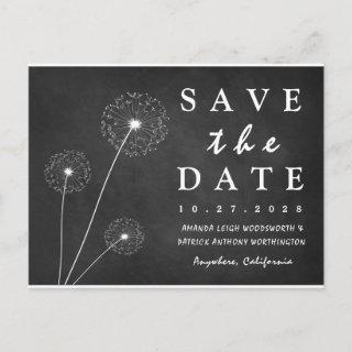 Dandelion Chalkboard Country Save The Date Cards