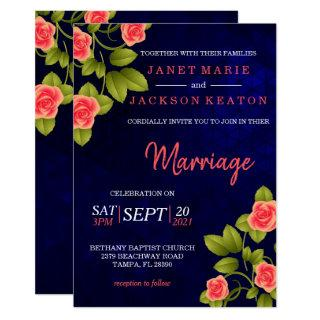 Dark Blue and Coral Rose Flower Invitations