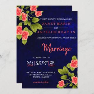 Dark Blue and Coral Rose Flower Invitation