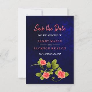 Dark Blue and Coral Rose Flower Save The Date