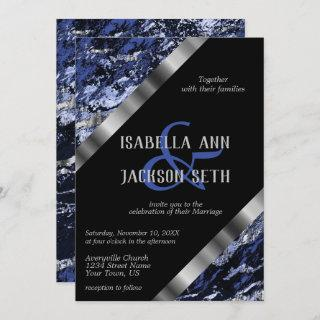 Dark Blue and Silver Marble Invitation