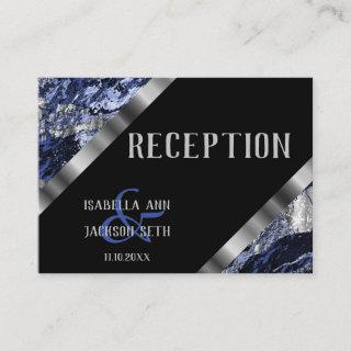 Dark Blue and Silver Marble  - Reception Enclosure Card