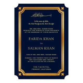 Dark Blue Gold Traditional Islamic Muslim Wedding Invitations