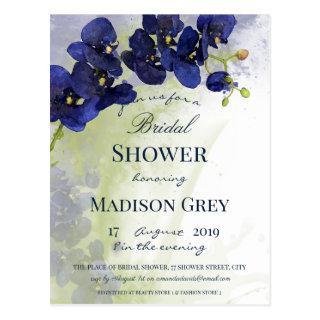 Dark Blue Orchid Watercolor Bridal Shower Postcard