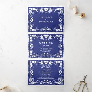 Dark blue papel picado love birds wedding Tri-Fold invitation