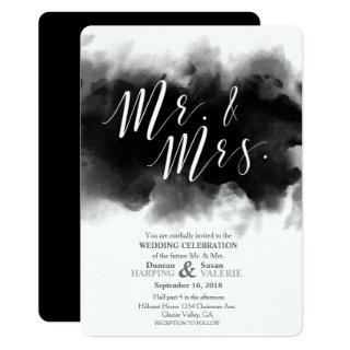 Dark Goth Mr and Mrs Watercolor Wedding Invitations
