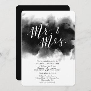 Dark Goth Mr and Mrs Watercolor Wedding Invitation