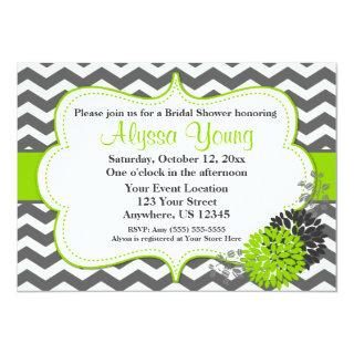 Dark Gray Lime Green Chevron Invitation