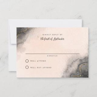 Dark Ink Wedding RSVP Cards