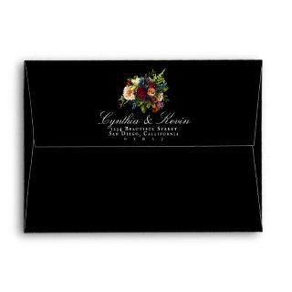 Dark Moody Floral Liner Envelopes Return Address