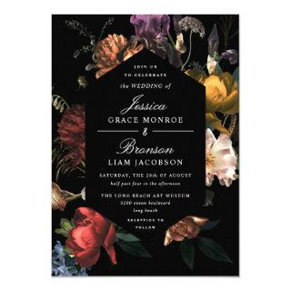 Dark Moody Romantic Floral Dutch Painterly Wedding Invitation