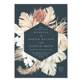 Dark Navy Floral Pampas Dried Grass Jungle Wedding Invitation
