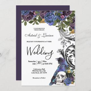 Dark Raven & Skull Gothic Wedding Invitation