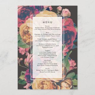 Dark Rose Botanical Fete Wedding Menu