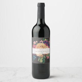 Dark Rose Botanical Fete Wedding Wine Label