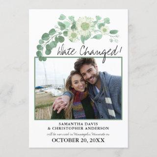 Date Changed Wedding Eucalyptus Blooming Greens Invitation