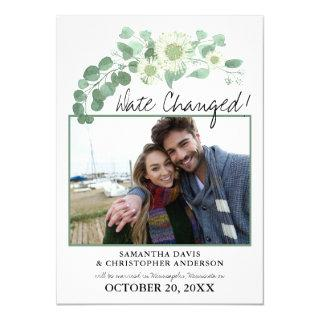 Date Changed Wedding Eucalyptus Blooming Greens Invitations