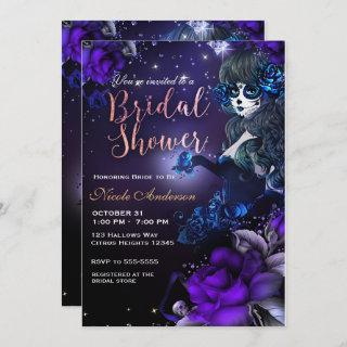 Day of the Dead Girl Purple Blue Bridal Shower Invitations