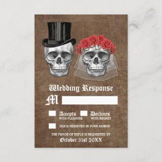 Day of the Dead Skull Couple Wedding RSVP Cards