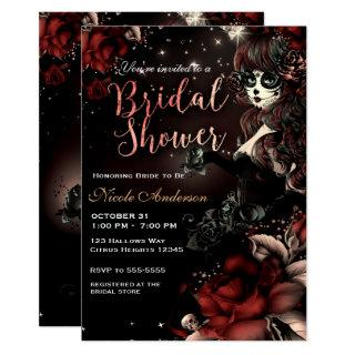 Day of the Dead Skull Girl Red Black Bridal Shower Invitations