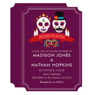 Day of the Dead Sugar Skull Gothic Magenta Wedding Invitations