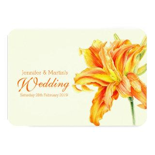 Daylily Hemerocallis floral wedding invitation