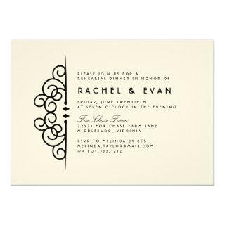 Deco Flourish Rehearsal Dinner Invitation