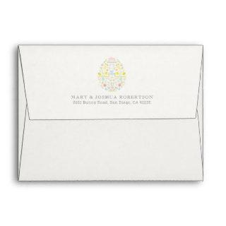 Decorated Easter Egg Floral Foliage Bunny Cream Envelope