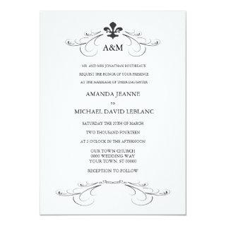 Decorative Scroll Fleur de Lis Wedding (gray) Invitation