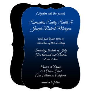 Deep Blue Black Ombre Elegant Calligraphy Wedding Invitations