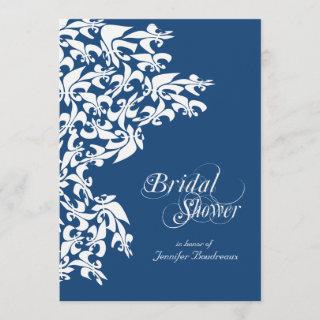 Deep Blue Fancy Fleur de Lis Bridal Shower Invitations