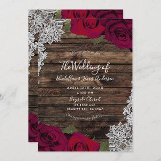 Deep Red Floral Roses Rustic Wood Lace Wedding Invitations