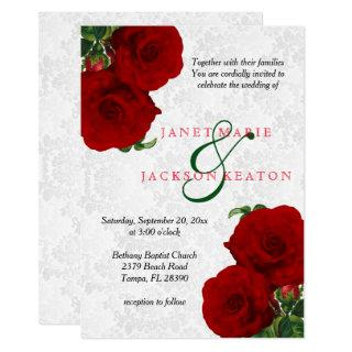 Deep Red Rose Floral Wedding Invitations