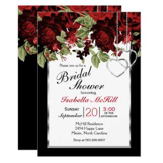 Deep Red Roses - Bridal Shower Invitations
