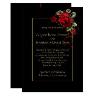 Deep Red Roses Greenery Gold Sparkles Wedding   Invitations