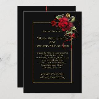 Deep Red Roses Greenery Gold Sparkles Wedding | Invitation