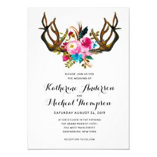 Deer Antler Floral Wedding Invitations