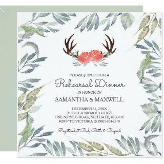 DEER ANTLER & Greenery Rehearsal Dinner Invite