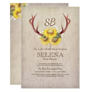 Deer Antlers and Sunflower Rustic Bridal Shower Invitations